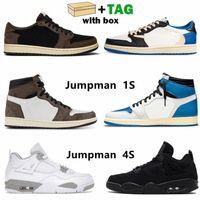 Met Box Top Jumpman 1S 4S Mens Basketbal Schoenen 4 Travis Scotts X Fragment Wit Oreo Zwart Kat Hoge Lage Mannen Dames Trainers AJ 1 Jordan Sneakers Schoen 36-46
