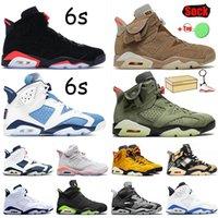 Com caixa Nike Air Jordan 6 Jumpman masculino basquete tênis 6s Carmine 6 Travis Scotts British Khaki Tech Chrome Preto infravermelho Hare tênis tênis