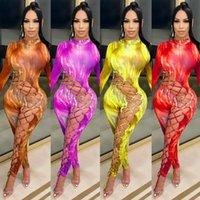Nuove donne Tuta Designer Designer Hollow Bandage Donne Pantaloni da donna Pantaloni stampati Stampato Manica lunga Home Abbigliamento Slim Pagliaccetti Abbigliamento casual