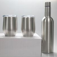 3 stücke750ml Weinflasche mit zwei 12 Unzen Wein-Tumbler 25z-Edelstahl-Flaschen mit Ei-förmigen Becher isoliertes Vakuumglas-Sets Geschenk 1733 V2