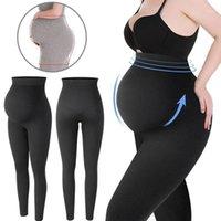 Leggings de maternidad Cintura Alta Cintura Embarazada Soporte de vientre Legging Mujer embarazo Pantalones flacos Forma de cuerpo Moda Ropa de punto1