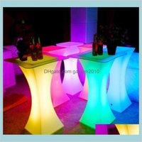 Bar Herramientas Barware Cocina, Comedor Home Jardín Recargable LED Luminoso Mesa de cóctel Impermeable Iluminado Iluminado Café KTV Disco