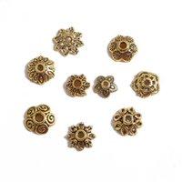 50 stücke Gold Blume Blütenblatt Perlen Caps Masse Ende Spacer Charms Perlenkappen Für Schmuckherstellung Zubehör DIY Lieferungen 1936 Q2