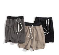 3 Renkler Erkek Yaz İpli Retro Yıkanmış Cep Tasarım Erkek Gevşek Pantolon Fitness Şort Moda High Street S-5XL