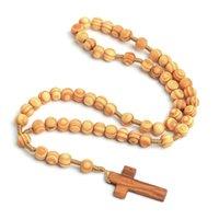 Perlas de madera cuentas de madera católicas Cristo Jesús cruzado collar religioso masculino y hembra cadena colgante