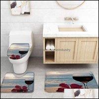Shower Aessories Home & Gardenshower Curtains Wine Beach Flowers Sunrise Curtain Sets Toilet Lid Er And Bath Mat Waterproof Bathroom Drop De
