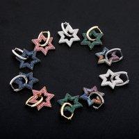 Hip Hop Donna Orecchini Trendy Luxury Multi-Color Bling Zircone Goccia Orecchini Moda All-Match Gold Silver Color Stars Orecchini DFF1071