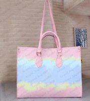 최고 품질 M44571 새로운 여성 염색 공정 대형 핸드백 totes 지갑 꽃 PU 가죽 어깨 가방 크로스 바디 가방 여름 가방