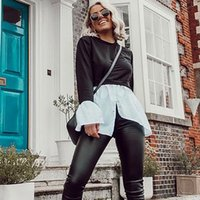 2021 spring and summer versatile splicing long sleeve two piece t-shirt female b black