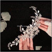 Barrettes Drop Lieferung 2021 Forseven Frauen Mädchen Stirnbänder Clips Kristall Blume Blatt Haar Kämme Braut Noiva Hochzeit Dekor Großer Schmuck QCDO