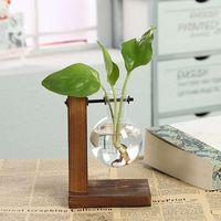 테라리움 수경 식물 화병 빈티지 꽃 냄비 투명 꽃병 나무 프레임 유리 탁상 식물 홈 분재 장식 510 R2