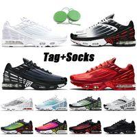 ayakkabı Nike Air max plus 3 tuned tn 3 tn Plus 3 kadın erkek koşu ayakkabıları eğitmenler beyaz siyah gri mavi gümüş spor ayakkabı