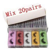 20 Pairs 3D Fiber Lash Mink False Fake Eyelashes Colorful Packaging Box 5 Diffetent Color Bottom Card Eyelase Cases Makeup Beauty Tools Eye Lash Extension Kit
