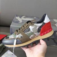 Hohe Rockrunner Sneakers Camouflage Männer Läufer 304 Flache Schuhe für Qualität Chaussures Sneaker Echtes Leder Gummisohle Casual Box WI WROS