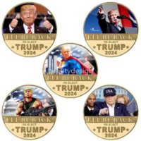 I WILL BE BACK RE-ELECT TRUMP 2024 Coin President Donald Trump Fake Money Anti Never Joe Biden MAGA US Presidential Election Accessories Gift DD
