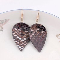 Faux Snakeskin Leather Tear Drop Earrings For Women Fashion Gray Gold Metallic Teardrop Earring Wholesale Dangle & Chandelier
