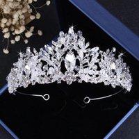 Handmade Evening Party Accessories Brand Silver Bridal Wedding Crystal Crown Rhinestone Hair Headband Headpiece Tiara Prom Pageant
