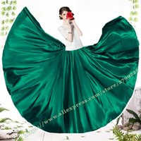 Female Vintage Retro Green   Red Satin Casual Plus Large Size 6XL 7XL Ladies Long Dance Skirt Maxi Skirts Womens