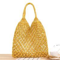 القش حقيبة اليدوية صافي شاطئ حقائب بلون اللون القطن حبل النساء حقائب واحدة الكتف عطلة السفر المنسوجة حقيبة يد EWA5074