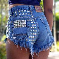 Pantalones cortos de mujer VERANO MUJER MUJER AZUL PANTES ANTILLAS TALLERES TALLERES CON BOLSILLOS RELLES TASSEL CASUAL JEAN SPODENKI DAMSKIE