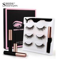 False Eyelashes SHIDISHANGPIN 3 Pairs 3D Magnetic With Eyeliner Natural Long Thick Lashes Handmade Extension Makeup
