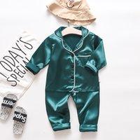 Наряды спячников для малыша мальчики с длинным рукавом с длинным рукавом сплошные топы + брюки пижамы спящие одежды мягкие чувства сладкая спальная одежда Y81 193 y2