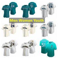 سياتلالبحارينالبيسبول الفانيلة 24 كين Griffey Jr. 51 Ichiro Suzuki 2021 رجال نساء الشباب S-4XL
