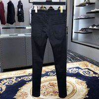 Amir black drill pierced jeans men's youth fashion brand ins super fire stretch slim fit small leg long pants men's pants