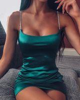 Женщины Mini Satin Spaghetti Spaghetti Spaghetti Платья ремешка Женский Сексуальный Slim Fit Bodycon Party Club Платье