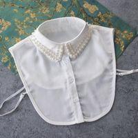 Bluse Perle Große Kragen Removalbe Beeinerte Vintage Farbige Perlenspitze Sharp Wild High-Light Rundhals Halskette Zubehör Damen Blusen Hemden