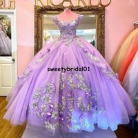 Mexican Light Purple Quinceanera Dress Applique Sweetheart Lace Beaded Sweet 16 Pageant Gowns 2021 vestidos de 15 años
