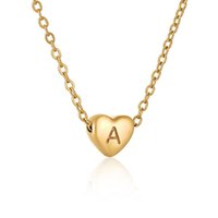 Heart Shape Pendant Necklaces For Women Stainless Steel 18K Gold Plated Lucky 26 Letters A-Z Necklace Jewelry Girl Gift South American