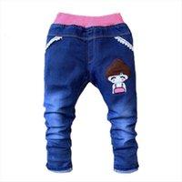 Clearance Kids Girls Jeans Dibujos animados niña arco Pantalones Casual Childrens Ropa Elástica Cintura Lápiz Pantalones de bebé