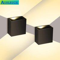 Duvar Lambası 6 W 12 W Kapalı Küp Alüminyum 85-265 V COB LED Aydınlatma Modern Ev Için Beyaz / Siyah Dekorasyon Aplik Yüzey Dağı