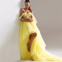 Sweetheart Off Shouder Sexy Prom Dresses 2022 Tiered Tulle High Low Bride Party Evening Gowns A Line Long Robe De Marrige