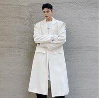 Omuz Toka Ceket Kore Moda Gevşek Rahat 3/4 Uzunluk Siper Giyim Erkekler Uzun Ceket Palto