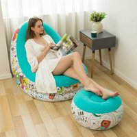 Inflatable Flocking Sofa With Footstool Combination Lunch Bed Chair Foldable Lazy Leisure Lounge For Adult Indoor Outdoor Pads