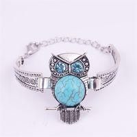 Klassisk vintage uggla turkos armband armband för kvinnor män mode smycken silver pläterad charm vänskap armband 1490 v2