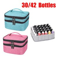 Storage Bags 30 42Grids Essential Oil Bag Perfume Nail Polish Organizer Box Makeup Tool Lipstick Portable Travel 2 Layer Handbag