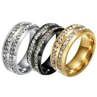 Luxury Womens & Mens Fashion Double Rows Rhinestones Titanium Stainless Steel Wedding Engagement Jewelry Ring Size 6-13