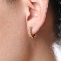 Luxury European and American Hot Huggie Hoop Earrings Full Zircon Bling Mens and Womens Hip Hop Earrings Jinao Ornament Fashion
