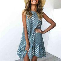 Vodiu Donne Delle Donne Vestire Polka Dot Chiffon Senza maniche Spiaggia estate Casual Party Sundress O-Neck Fashion per Vestido 210522