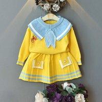 Vestuário menoea crianças crianças ternos inglaterra estilo camisola menina xadrez lã camisa saias 2 pcs bebê outono sets q1215