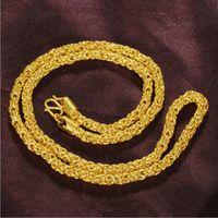 Cadenas de collar de giro chapado en oro de 24k de los hombres NJGN085 Regalo de boda de moda Collares de cadena de placa de oro amarillo