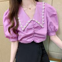 Loose Folds Women Tops Summer 2020 New Chiffon Blouses Shirt Women's Clothing Flower Bead Elegant Korean fashion clothing 63A1