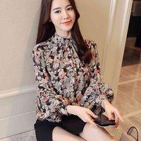 Fashion woman blouses print chiffon blouse shirt womens tops and long sleeve women shirts blusas femininas 210608