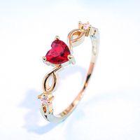 حلقة القلب للنساء الإناث لطيف خواتم الاصبع هدية عيد الرومانسية لصديقة الأزياء الزركون حجر مجوهرات