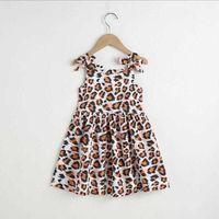 Vieeoease Girls Dress Kids Clothing 2021 Summer Cute Straps Leopard Printed Design Bow Princess Clothes CC-898