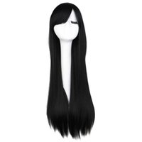 Lange gerade Cosplay Perücke schwarz lila rosa blaue spleißige graue blonde weiße orange braune synthetische Haarperücken
