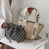 vertme 패션 여성 핸드백 짠 숙녀 숄더 가방 여름 해변 짚 팩 대용량 토트 도트 큰 바구니 지갑 크로스 바디